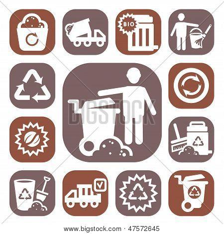 cor lixo vector icons