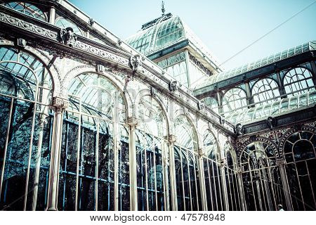 Crystal Palace In The Retiro Park In Madrid. Spain