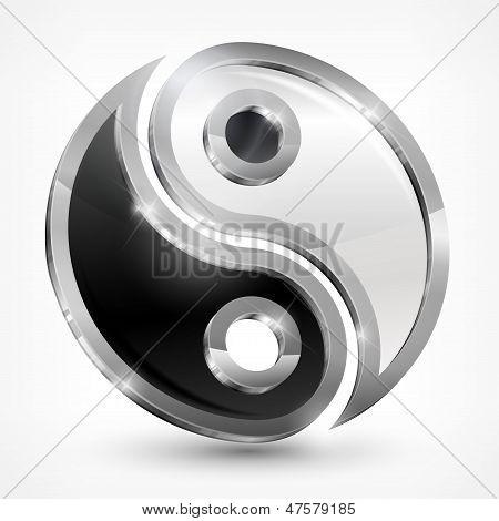 Yin Yang Metallic Symbol