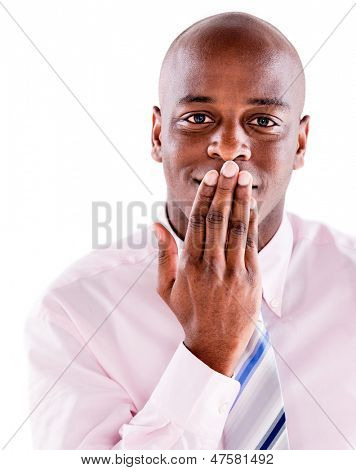 Speechless business man covering mouth - isolated over white background