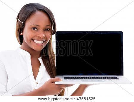 Woman holding a laptop displaying the screen - isolated over white