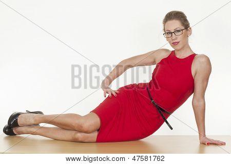 Seductive Caucasian Woman Posing Sexy