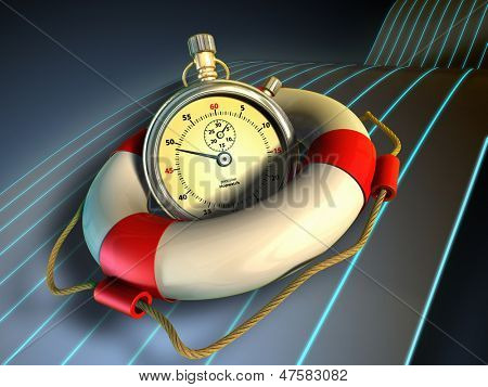 A stopwatch held in a lifesaver. Time saving concept image. Digital illustration.