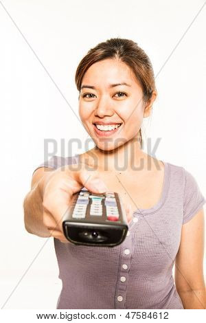 young asian woman with remote control
