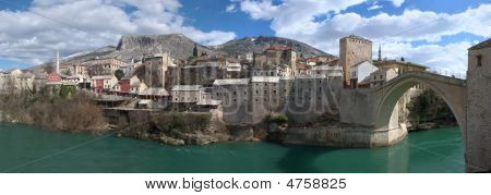 Panorama Of Mostar Old Town East Side With Old Bridge