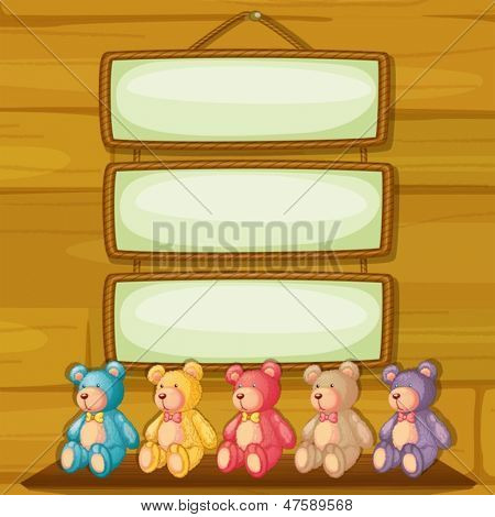 Illustration of the bears below the hanging signboards