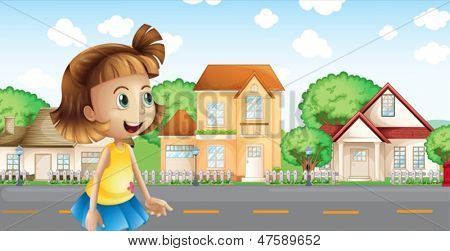 Illustration of a girl walking across the neighborhood