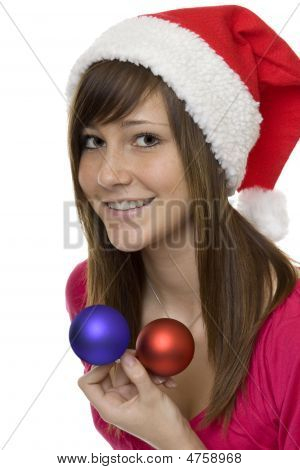 Merry Christmas, Happy Teenager With Christmas Tree Ball