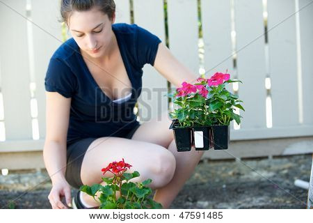 Young Woman Holds Small Crate Of Flowers