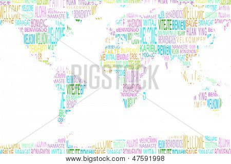 Map showing welcome in different languages on white background