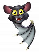 picture of peek  - A happy cartoon black bat perhaps a Halloween vampire bat peeking round a banner and pointing - JPG