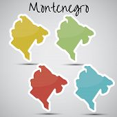 stock photo of yugoslavia  - shiny vector stickers in form of Montenegro - JPG