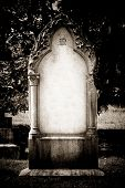 pic of headstones  - Blank headstone with all details removed in sepia - JPG