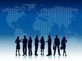 stock photo of person silhouette  - Silhouettes of business people on a world map background - JPG