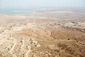 picture of masada  - View to the water of the Dead Sea from Masada fortress Israel - JPG