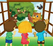 image of sling bag  - Illustration of the three kids watching the different animals in the forest - JPG