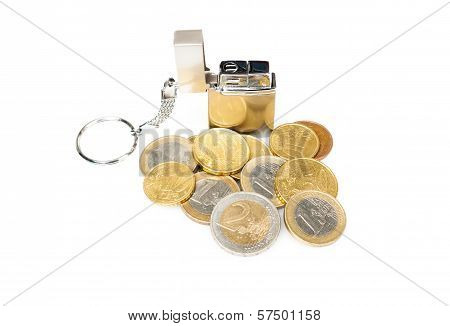 Cigarette Lighter With Euro Coins