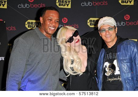 Dr. Dre, Lady Gaga and Jimmy Iovine at a signing for the CD