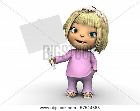 Cute Toddler Girl Holding Blank Sign.