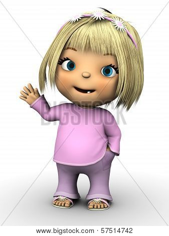 Cute Toddler Girl Waving.