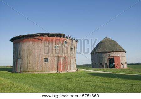Two Round Barns.