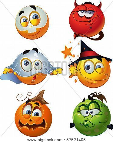 Set Of Batch Vector Halloween Round Smiles