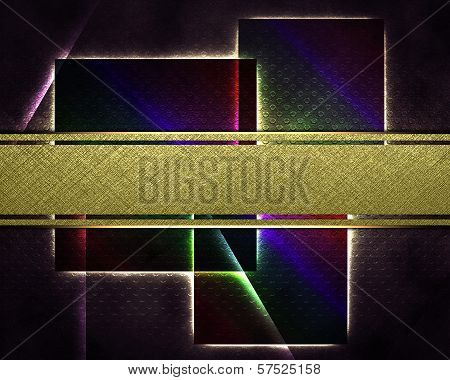 black background with squares and a gold nameplate for writing.