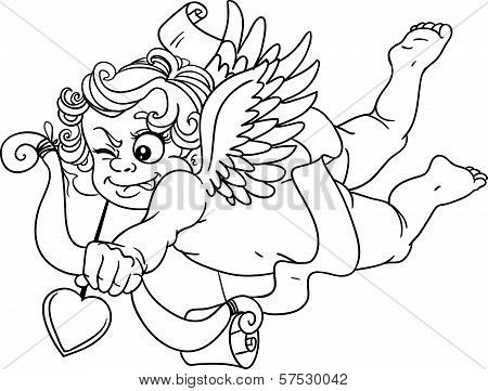 Cupid With Onion And Arrow Black Outline For Coloring