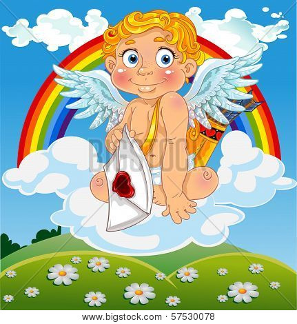 Cupid With Love Letter On Cloud Over  Field And With Rainbow