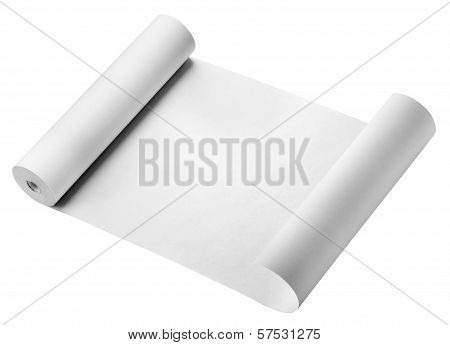 Roll of thermal fax paper, isolated