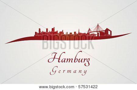 Hamburg Skyline In Red