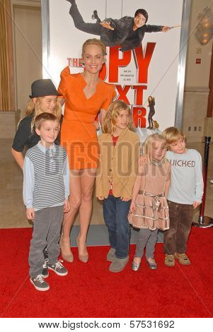 Amber Valletta and her son, nieces and nephews at