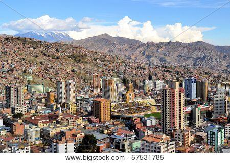 Aerial View Of La Paz Skyline With Stadium