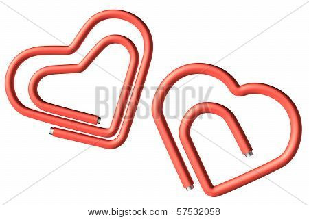 Two Red Paperclips Heart