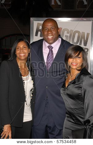 Cookie Johnson, Magic Johnson and Taraji P. Henson at 'The Book Of Eli' Premiere, Chinese Theater, Hollywood, CA. 01-11-10
