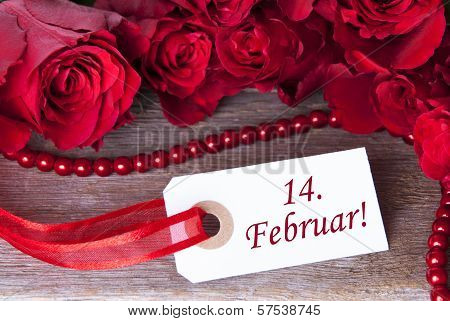 Rosy Background With 14. Februar
