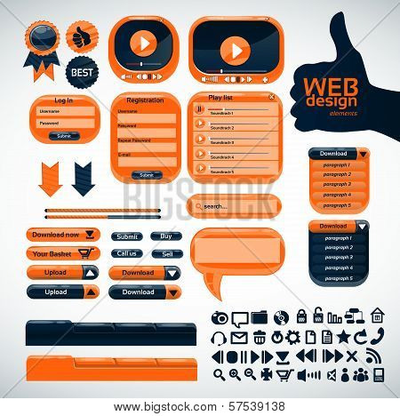 Set Orange Elements For Web Design