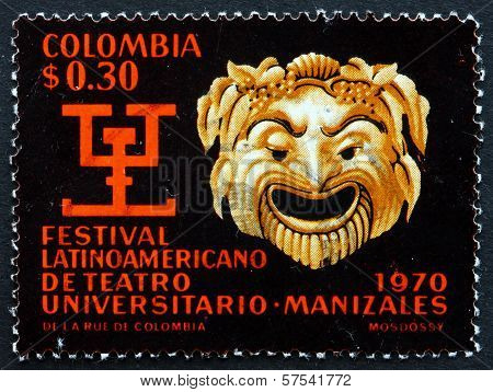 Postage Stamp Colombia 1970 Greek Mask