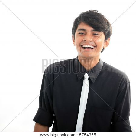 portrait of man laughing on white background