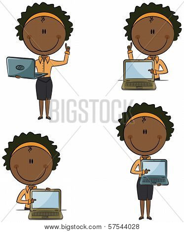 African-american Business Lady With Laptop