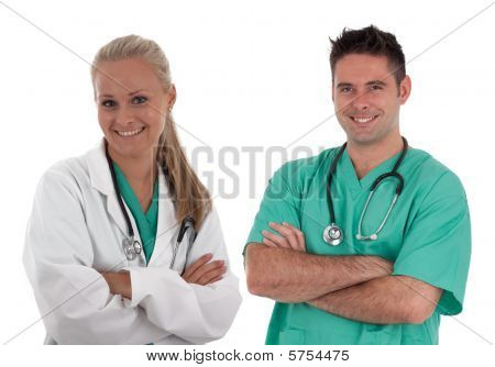 Young Medical Team Serious Looking Young doctor isolated on white