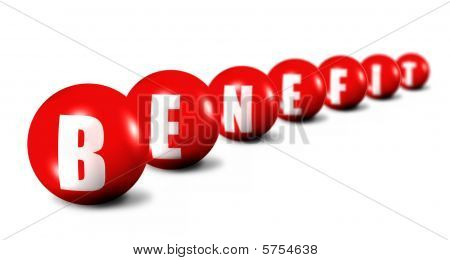 Benefit Word Made Of Spheres On White