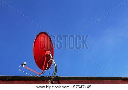 Red Satellite Dish Antenna