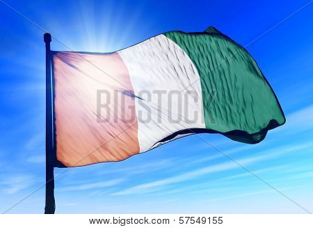 Cote d'Ivoire flag waving on the wind
