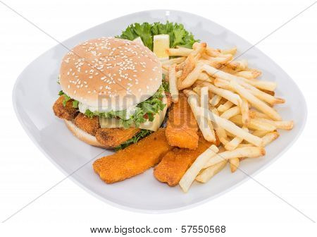 Fish Burger On A Plate Isolated On White