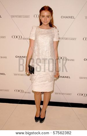 Lily Collins at the 'Coco Before Chanel' Premiere Party. Chanel, Beverly Hills, CA. 09-09-09