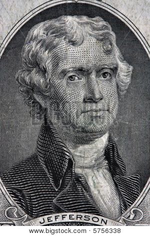 Portrait Of Thomas Jefferson From The Two Dollar Bill.