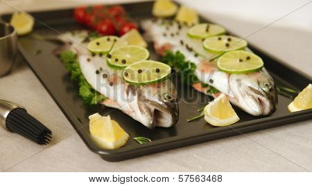 Raw fish. Healthy dinner preparation