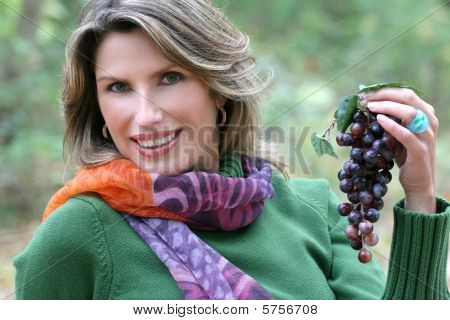 Woman Eating Grapes, Fall Theme