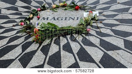 Monument of  Strawberry Fields in Central Park, New York